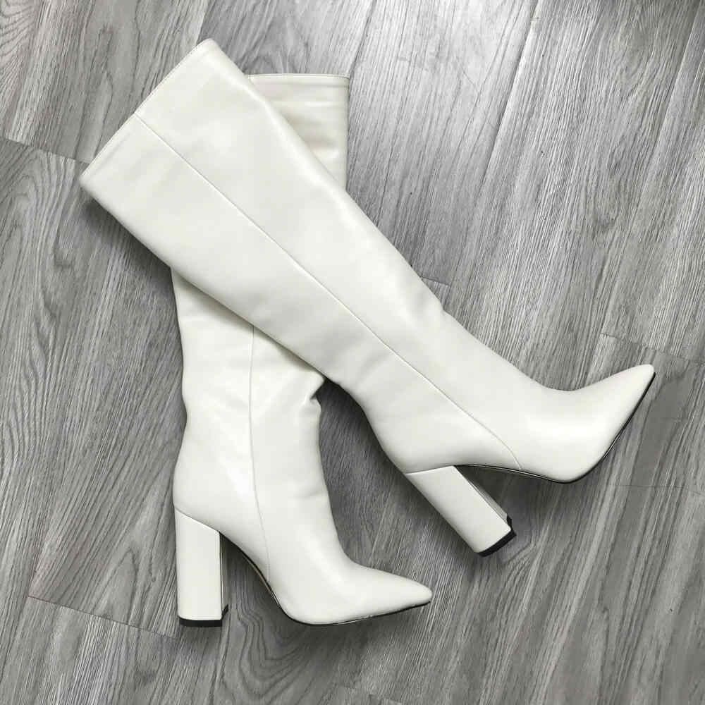 Tasarımcı kışlık botlar bayan diz yüksek çizmeler yüksek topuk sivri burun ayakkabı kadın botları kahverengi bej siyah kırmızı yeşil şarap çizmeler 2020
