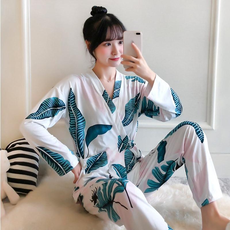 Cartoon Print Kimino Top And Pants Pajama Set Women Cotton Pajama Long Sleeve Preppy Pajama Sets Nightwear 2019 Casual Sleepwear фото