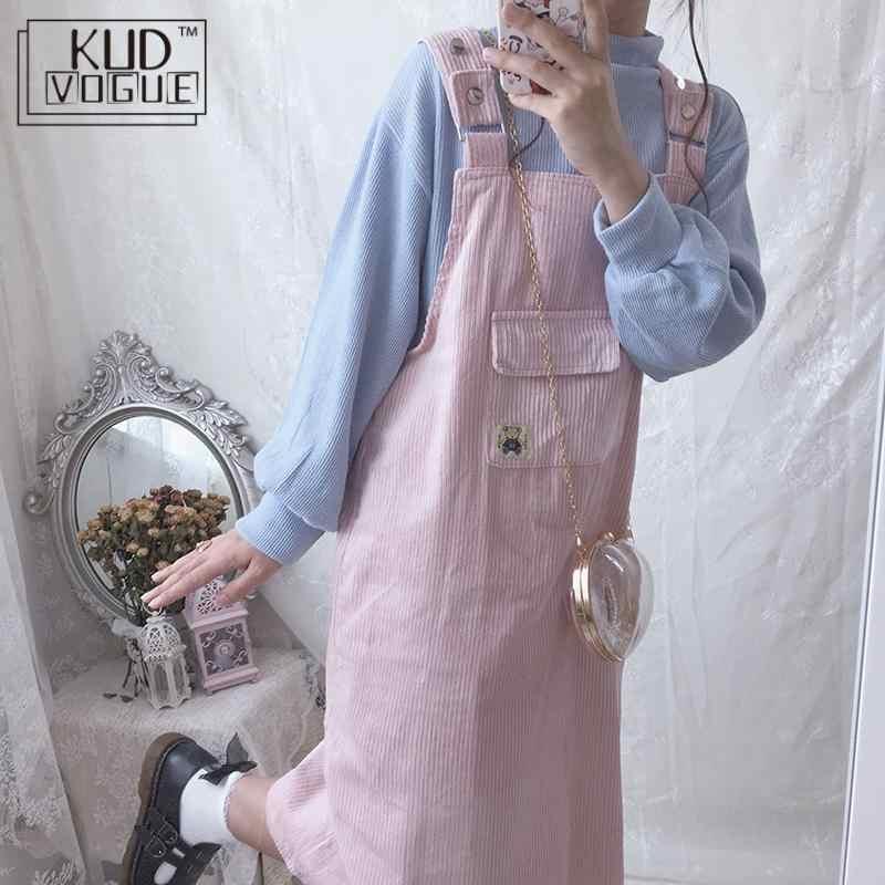 여성 스트랩 로리타 오버올 드레스 봄 카와이 핑크 블루 드레스 하라주쿠 코듀로이 자수 귀여운 만화 멜빵 따뜻한 드레스