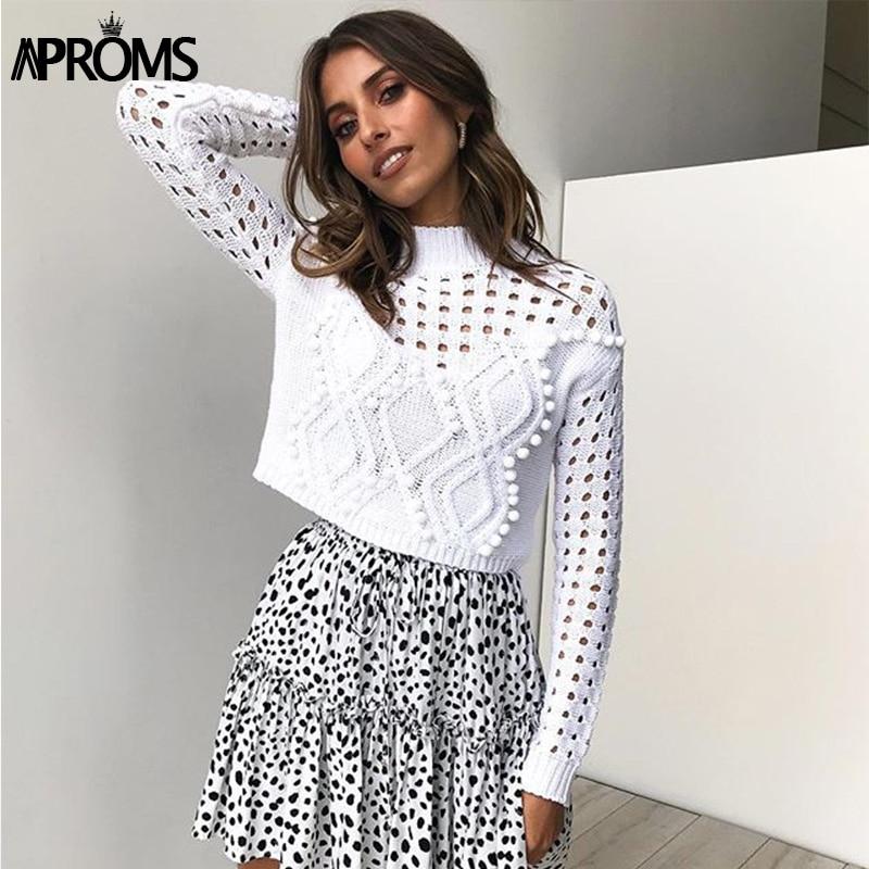 Aproms Elegant High Neck PomPom Knitted Sweater Women Long Sleeve Cropped Sweater Autumn Winter Short Slim Pullover White Jumper