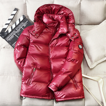 Winter 90% white duck down mens shiny jacket short new couple models hooded women men Down Parka