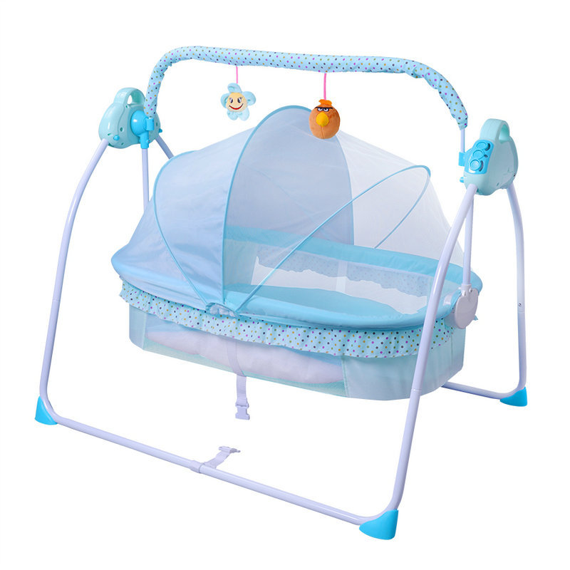 Protable Multifunctional Baby Crib Bed Electric Swing Shaker Infant Electric Cradle Folding Travel Cot Sleeping Lounger Bassinet