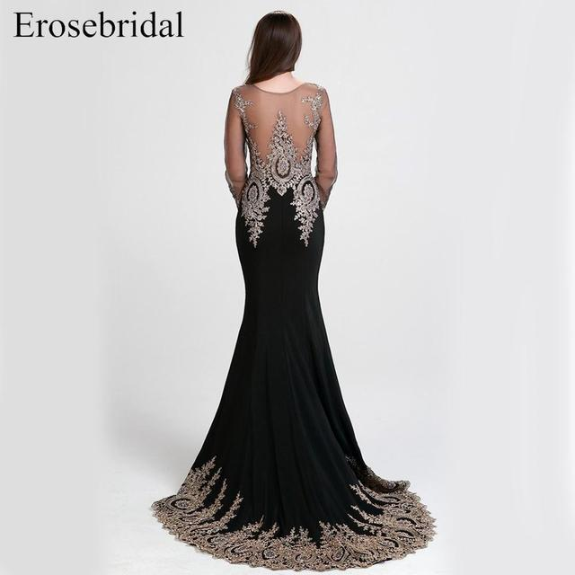 Clearance Sale Black Mermaid Evening Dress Long Gold Lace Long Sleeve Evening Dress with Train 8 Colors 1
