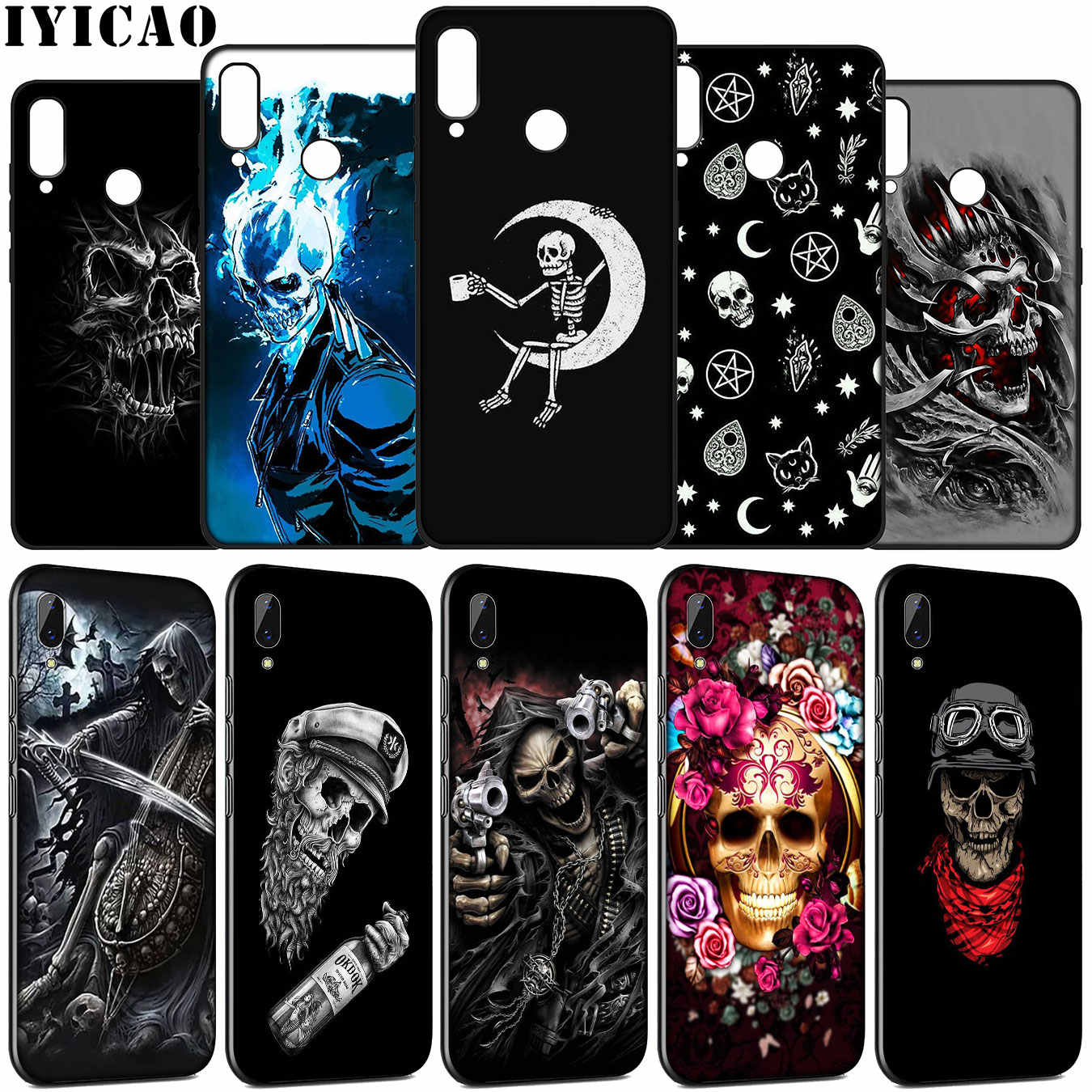 Grim Reaper Skull Skeleton Soft Case for Huawei Y9 Y7 Y6 Prime 2019 2018 Honor view 20 8C 8X 8 9 9X 10 Lite 7C 7X 7A Pro