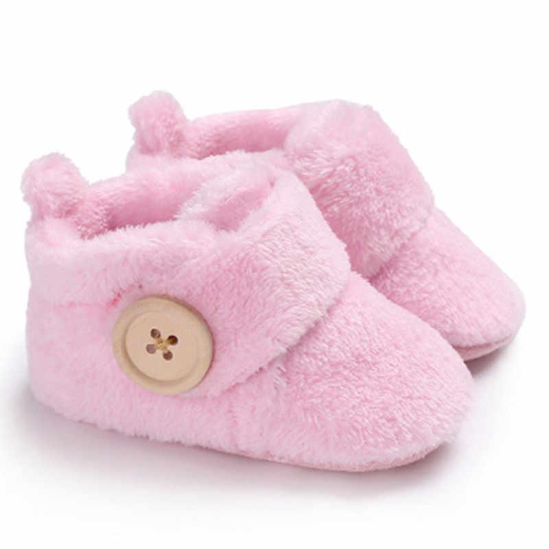 Diseño encantador niño niñas niño primer caminante zapatos de Bebé Zapatos de punta redonda zapatillas suaves zapatos invierno Bebé Zapatos calientes