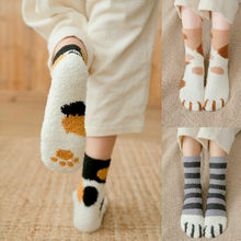 1 pair of plush coral fleece socks female tube Winter autumn winter Cat Claws Cute Thick Warm Sleep Floor Socks Coral