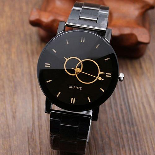 Trending Products 2019 Men's Fashion Black Alloy Band Round Dial Quartz Wrist Watch Student Gift Couple Watch парные часы
