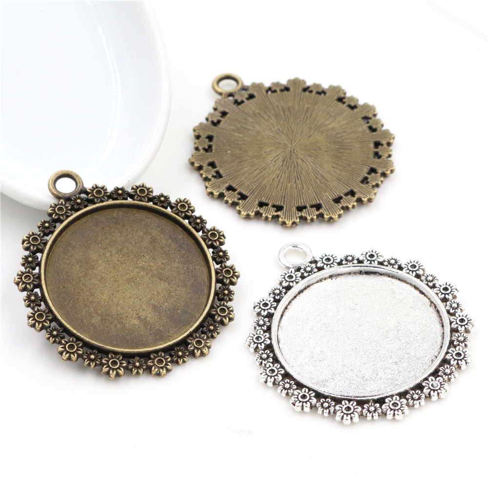 5pcs/lot 30mm Inner Size Antique Bronze And Silver Plated Color Flower Style Cabochon Base Setting Charms Pendant