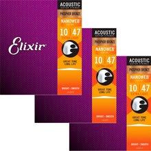 3 conjuntos elixir nanoweb revestimento anti-ferrugem fósforo bronze cordas da guitarra acústica