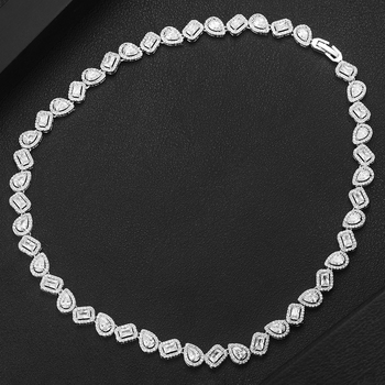 missvikki Luxury Romantic Clear Crystal Long Necklace Chain Jewelry for Women Girl Bridal Wedding Party Full Shiny CZ 2020 New