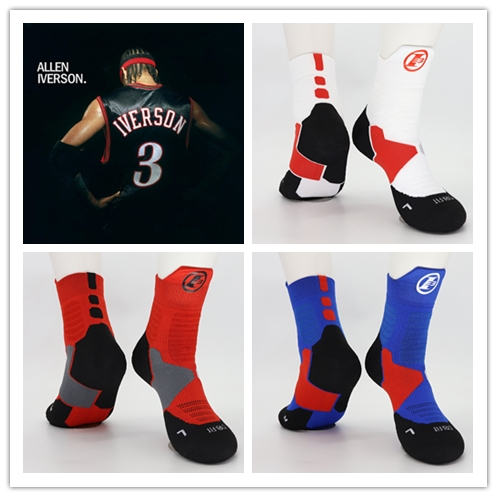 Allen Ezail Iverson Basketball Middle Calf Cotton Thick Socks Number Three NO3 Combo Guard The Answer AI Retired Player Top Pick