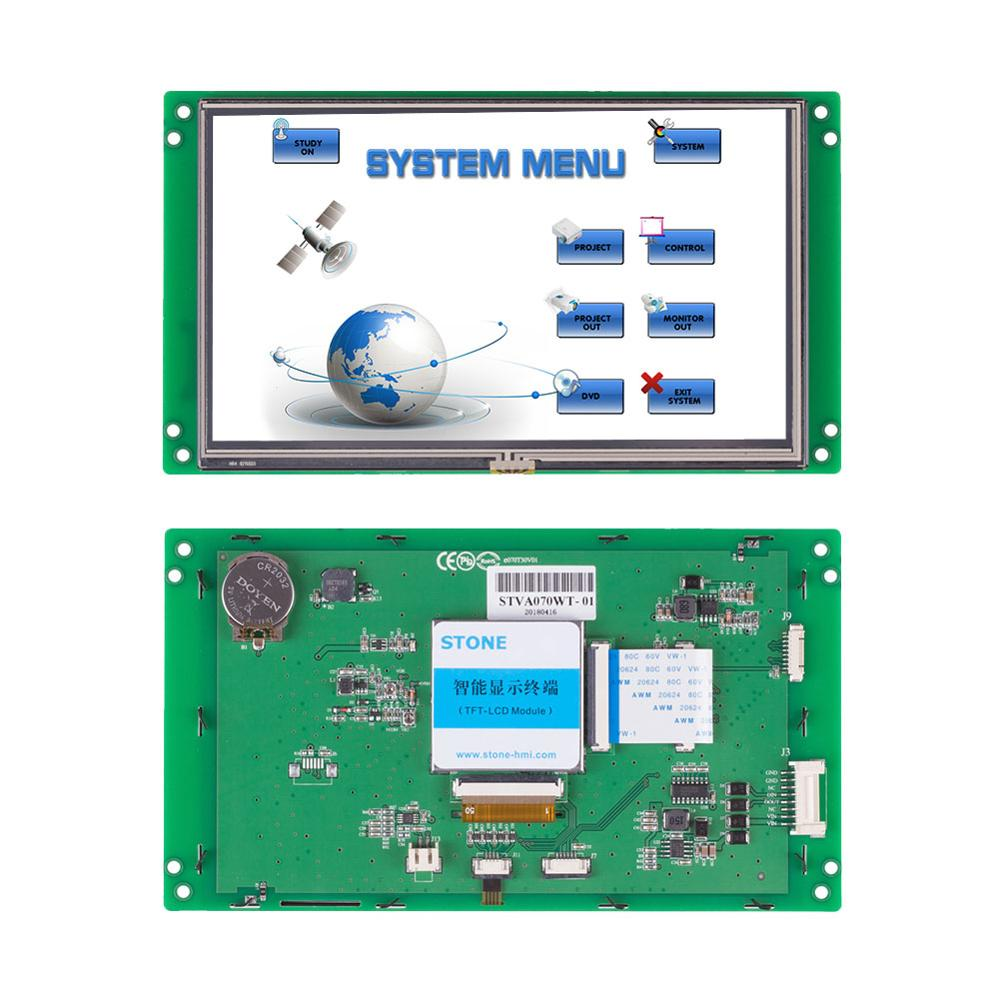 7 inch Wide Voltage LCD Touch Screen with Controller Board + Software + RS232 RS485 TTL Support Any MCU