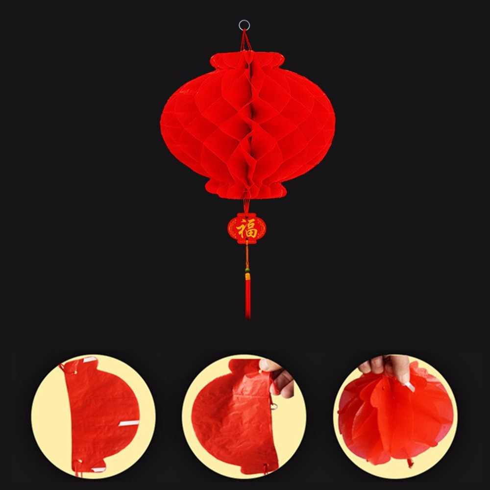Gran rojo panal colgante linterna engrosada Decoración de cumpleaños de fiesta de boda en el Festival de Primavera de Navidad adorno para el hogar tienda