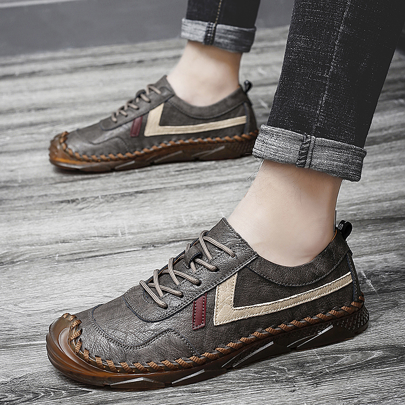 Hot Men's leather casual shoes 2020 High-quality handmade men's shoes Fashion casual sports business flat shoes Big Size 47 New