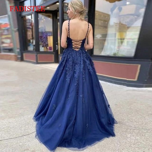 Lace navy blue V-neck vestidos de fiesta de noche prom party Evening Dresses robe de soiree gown frock long soft tulle lace-up 2