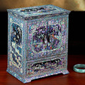 Hand Made Abalone Shell-linlaid Mosaic Jewelry Box Storage Lacquerware Lacquer Arts with Lock 23.2x15.8x27.4cm Wedding Gift