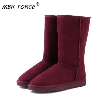 MBR FORCE Fashion Genuine leather Fur Snow boots women Top High quality Australia Boots Winter for Warm shoes red - discount item  69% OFF Women's Shoes