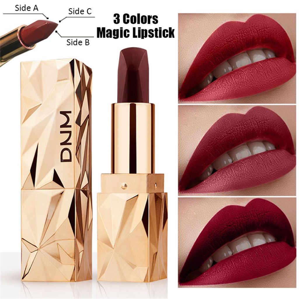 Rouge à lèvres imperméable à l'eau rouge à lèvres trois Faces trois couleurs Sexy rouge brun Pigments maquillage brillant cristal rouge à lèvres beauté lèvres