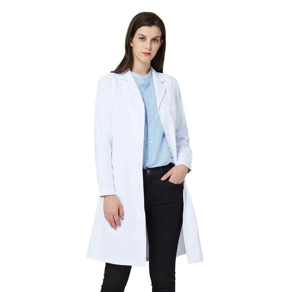 לבן מעבדה מעיל לנשים, אחות ורופא מעיל, מקצועי רפואי Workwear אחיד, התייעצות לבן מעיל עם 3 כיסים