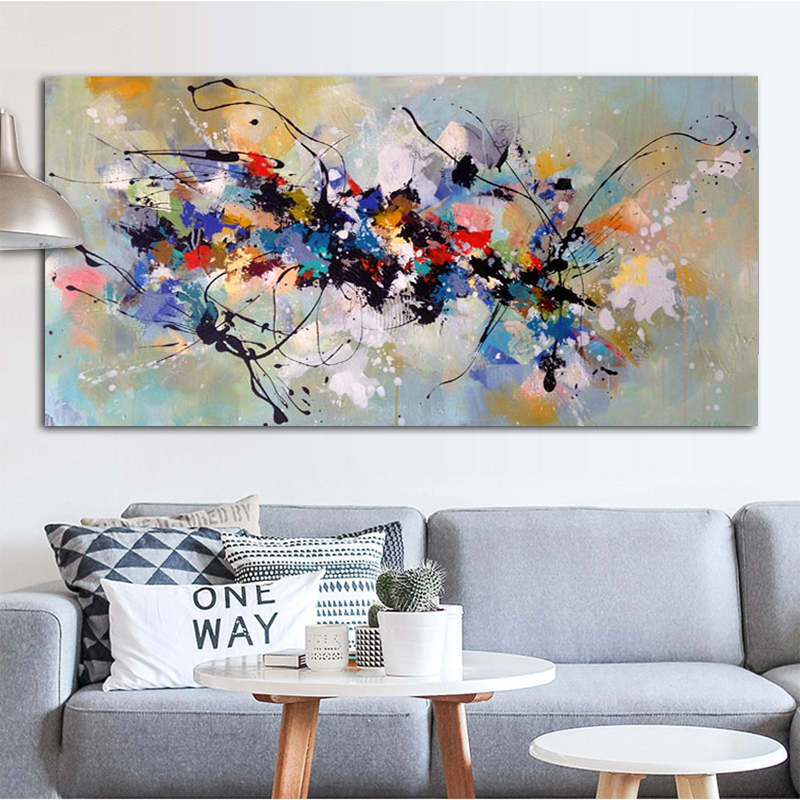 Abstract Art Oil Painting Canvas Painting Wall Pictures For Living Room Bedroom Home Decor Canvas Painting Color Block NO FRAME
