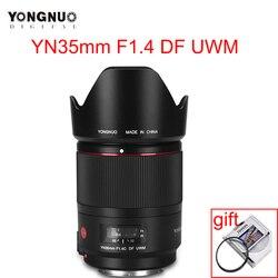 Объектив камеры YONGNUO YN 35 мм F1.4C DF UWM AF MF 35 мм F1.4, ультразвуковой волновой двигатель, широкоугольный основной объектив для Canon 70D 7D 6D 5D 70D