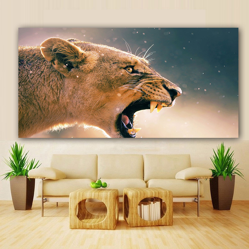 Nordic Canvas Painting Wall Art Africa Angry Animal Female Lion Pictures Posters Print for Living Room Decoration Home DecorNord