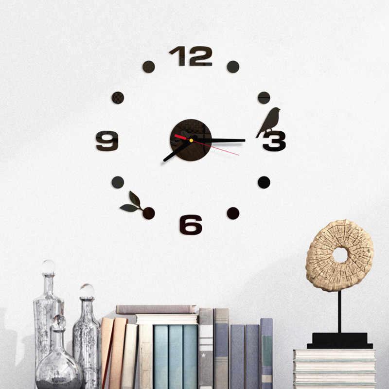 DIY 3D zegar ścienny lustro akrylowe naklejki dom salon sypialnia ptak roślina igła kwarcowa zegar ścienny nowoczesny Design dekoracji