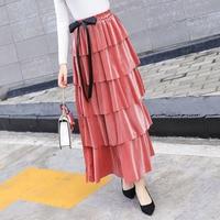 2019 Elegant Autumn Winter Long Velvet Skirt Women Bow Tie 5 Layer Ruffles Skirts Female High Waist Maxi Skirt Jupe Faldas