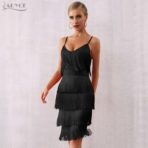 Image 5 - Adyce 2020 新夏の女性の包帯ドレスセクシーな v ネックタッセルフリンジ赤クラブドレス vestidos エレガントなミディセレブパーティードレス