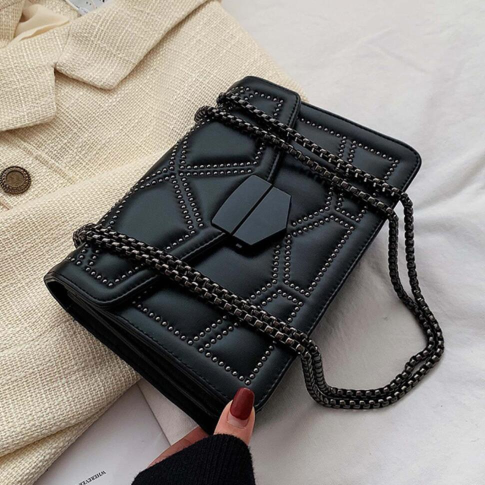 Rivet Square Crossbody Bag 2020 Fashion New High Quality PU Leather Women's Designer Handbag Lock Chain Shoulder Messenger Bag