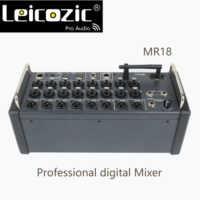Leicozic MR18 18 consola de mezcla Digital de entrada para tabletas iPad/Android con 16 PRO preamplificadores, Wifi integrado y USB multicanal