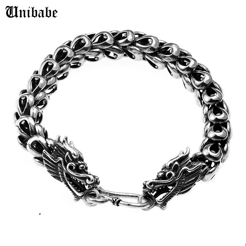 Thai Silver Jewelry 925 Sterling Silver Dragon Bracelet Male Personality Retro Fashion Chain & Link S925 Bracelet