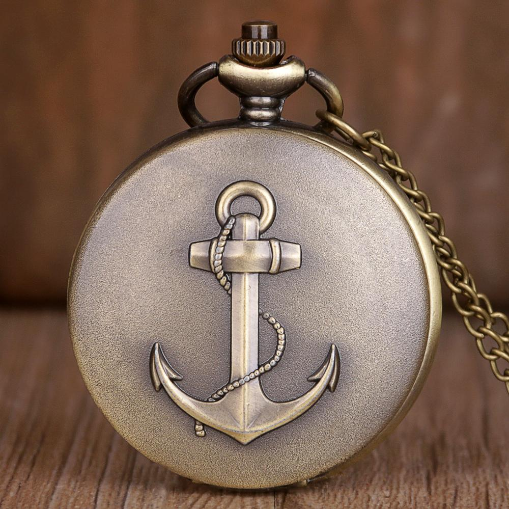 Sailing Hooks Pocket Watch Retro USSR Soviet Quartz Analog Necklace Watch & Fob Chain Accessories Gifts Full Metal Hours Clock