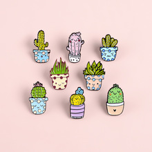 New Pink Green Blue Cute Plant Cactus Brooch Fashion Personality Cute Cartoon Plant Badge Denim Backpack Backpack Pendant Gift цена 2017