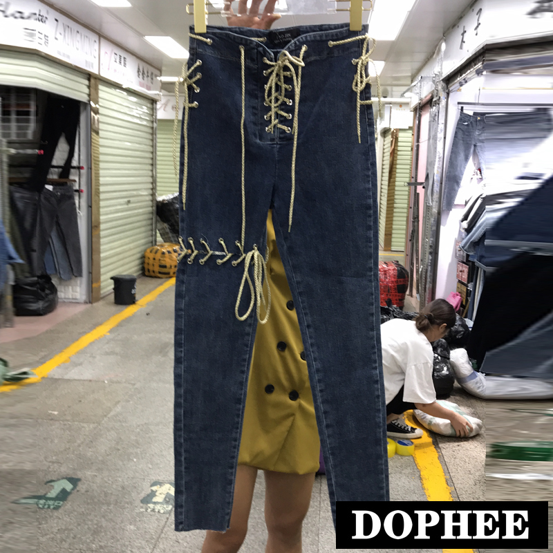 New Fashion Straps Cut Holes High Waist Trim Skinny Jeans Trousers Women's 2020 Spring New Stretch Tight Fitting Pencil Pants