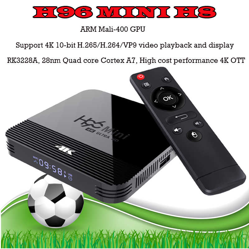 RK3228A H96 MINI H8 smart tv décodeur H.265 Android 9.0 2.4G/5G WiFi Bluetooth 4.0 Youtube Google Player H96 smart tv box