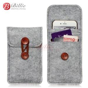 Image 2 - El yapımı yün keçe cüzdan arpacık iPhone 8 için artı 5.5 inç iPhone için kılıf 6S 7 8 4.7 inç için cep telefonu çanta şeffaf kılıf kapak