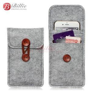 Image 2 - Lã feitas à mão Sentiu Carteira Chiqueiro Para o iphone 8 Plus 5.5 polegada case Para iPhone 6S 7 8 4.7 polegada sacos de sacos de telefone celular Tampa Da caixa clara