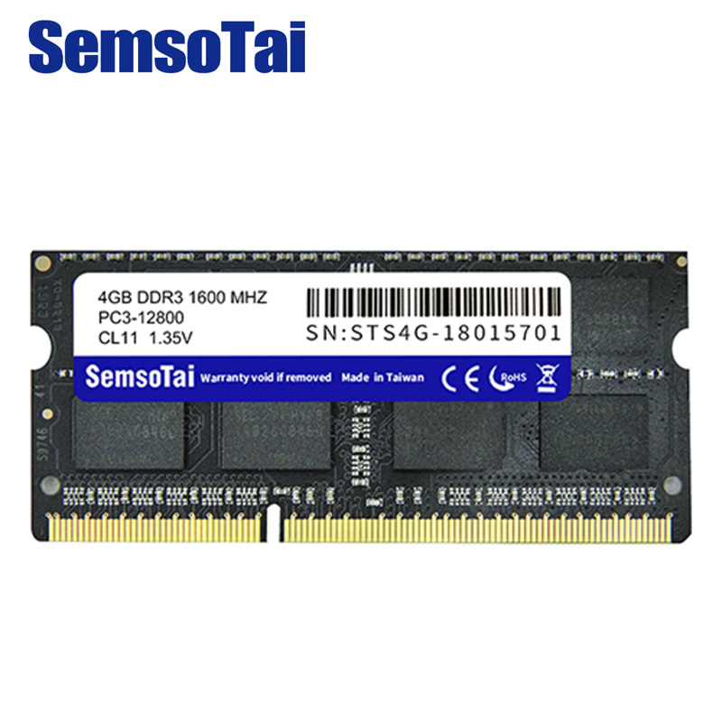 SemsoTai ram <font><b>ddr3</b></font> 4gb 1600MHz Memory PC3-12800 CL=11 1.35v 204Pin 0~85 degrees Lifetime warranty for laptop memoria ram ddr 3 <font><b>4g</b></font> image
