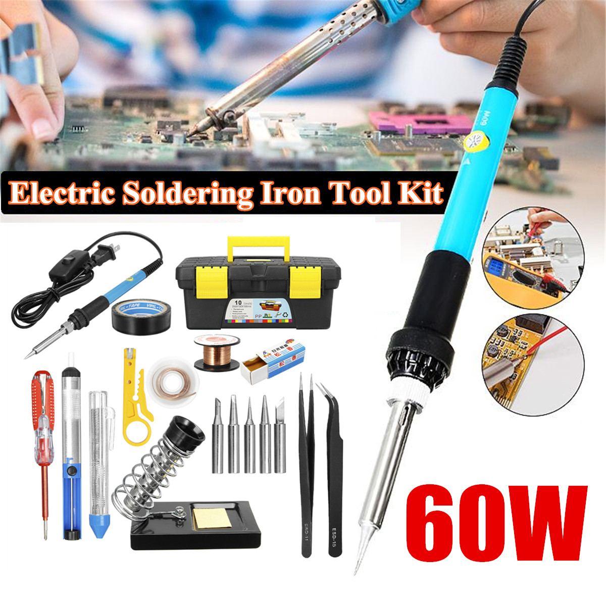 220V Soldering Iron Kit Electronics Welding Irons Tool Gun Set DIY US 60W 110V