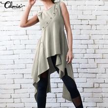 S-5XL Celmia Vintage Top Women Fashion Blouse Summer Sexy Sl
