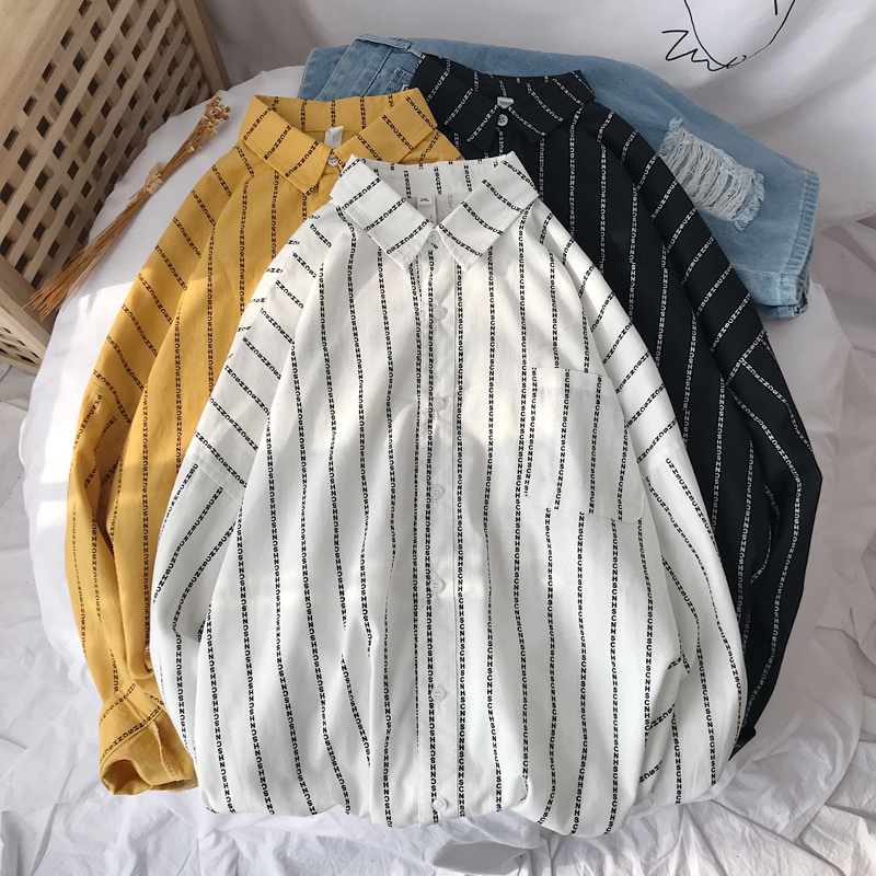 Privathinker Korean Men Shirts Clearance Striped Long Sleeves Shirts Summer Streetwear Printed Man Blouse Tops