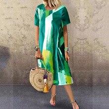 Maxi-Dresses Vintage Plus-Size Vestidos Long 40 Summer Tunic Robe-Printed Pleated Femme
