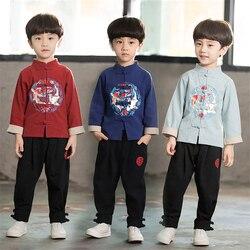 Традиционный китайский костюм в стиле Тан для детей; комплект одежды из 2 предметов для мальчиков; новогодние вечерние костюмы Hanfu в стиле др...