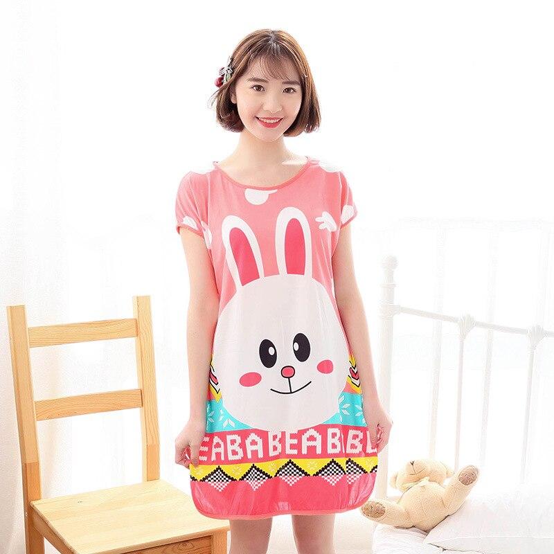 2020 Summer Womens Nightgown Female pajiamas Short Sleeved Cartoon Sleepwear Girls Round-Neck Cute Dress 3