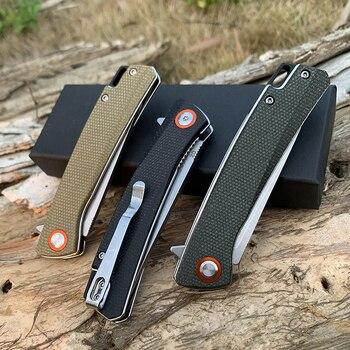 TUNAFIRE Pocket Knife High-end linen (Micarta) handle Ball Bearing Folding Blade Survival Hunting Knife Camping Portable EDC 6