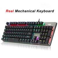 Jogo teclado mecânico rgb mix backlit usb com fio teclado chá/verde/preto/vermelho eixo teclados inglês pro gamer teclado