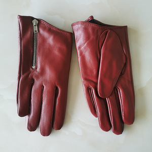 Image 2 - Pure Sheepskin Genuine Leather Woman Gloves Short Style Red With Zipper European Version French Elegance Female Mittens TB84