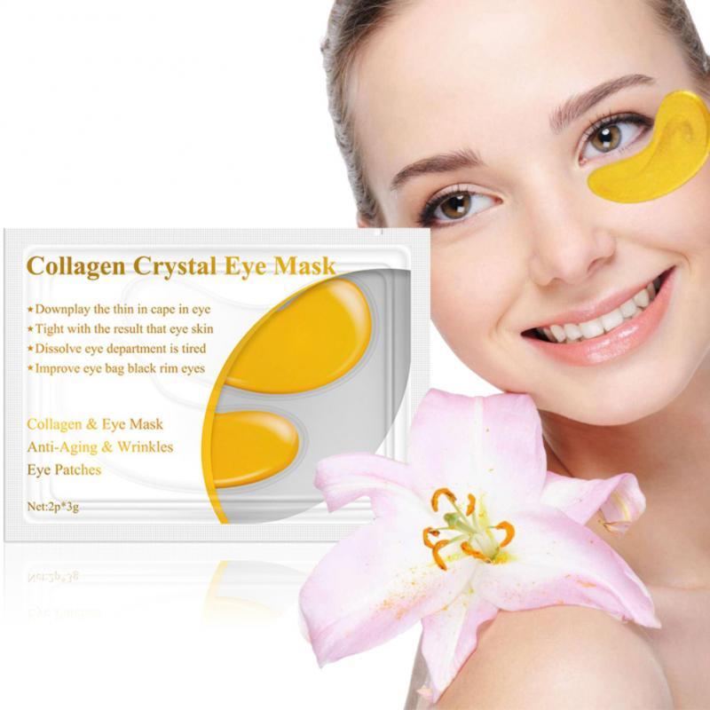 1 Pair Gold Crystal Collagen Eye Mask Anti Aging Puffiness Moisturizing Eye Masks Colageno Gel Eye Pads TSLM1