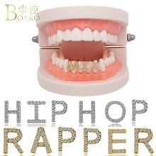 Bling pierwsza litera grillz mężczyźni Hip Hop złoty Dental grille cyrkon ząb Grillz Cap raper zęby grillz czapki Punk biżuteria do ciała Z5 tanie tanio BOAKO Miedzi Hiphop Rock Teeth Grillz Caps cross Grillz Dental grille Metal Rapper Teeth Grillz grills teeth gold teeth
